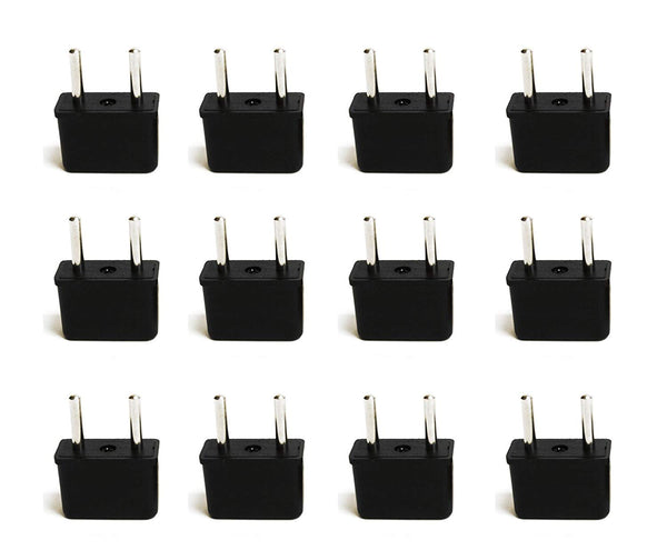 USA / N. America to Europe Travel Adapter - Non-Grounded (UP-12AE, 12 Pack)