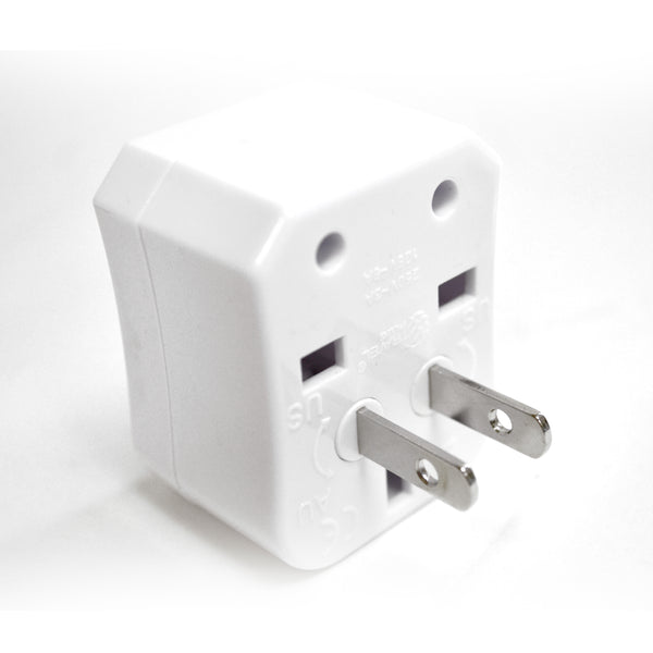Ceptics 3pc International Travel Plug Adapter Kit (White), Non-grounded
