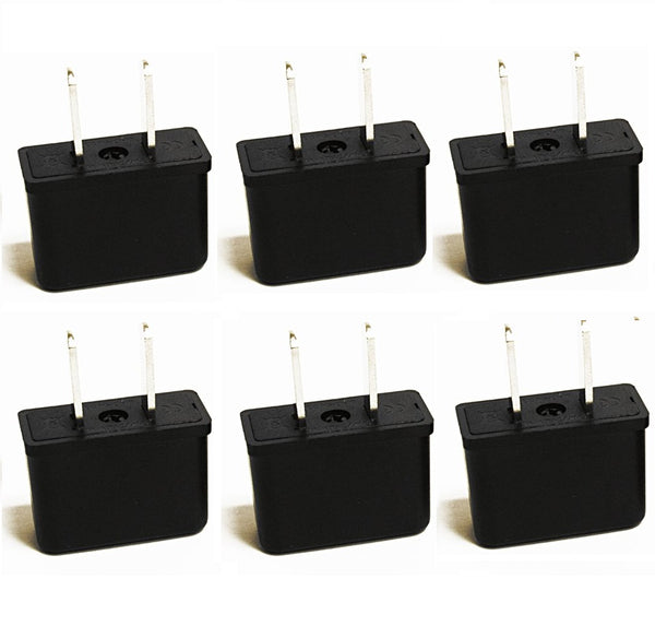 Europe Asia to USA Plug Adapter - Non-Grounded (UP-6US, 6 Pack)