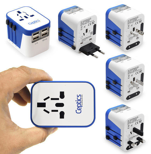All-In-One International Travel Plug Adapter - 4 USB Ports (UP-9KU)