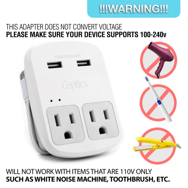 World-Way 13 Travel Adapter Kit | 2 USB + 2 US Outlets - Grounded