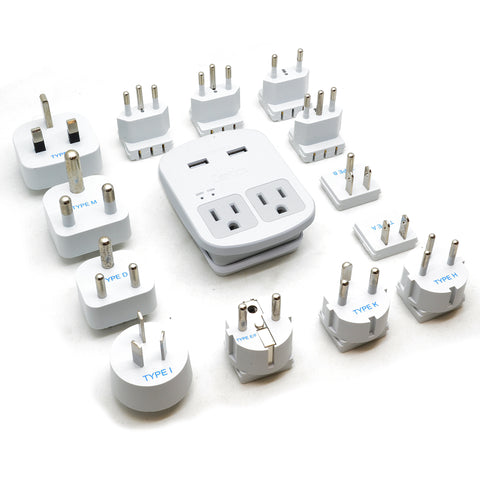 Ceptics World Travel Adapter Kit | 2 USB + 2 US Outlets - 13 Adapter Set
