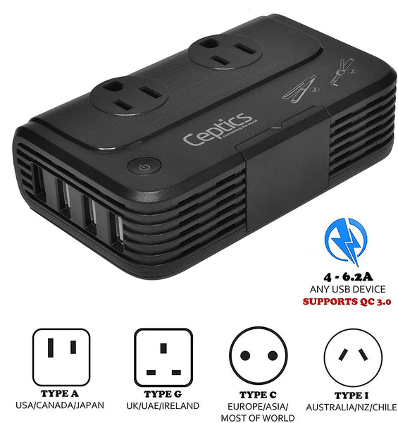 230W Travel Voltage Converter - 2 Outlets + 4 USB QC 3.0 - 220V to 110V (PU-200X)