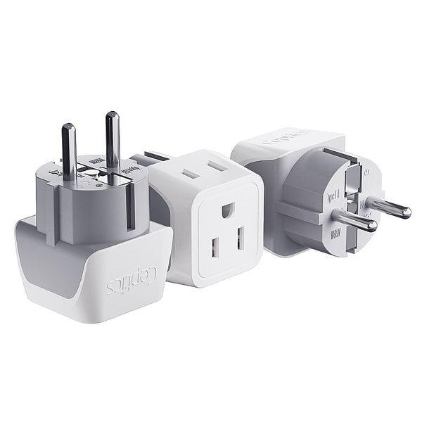 Europe (Schuko) Travel Adapter - Type E/F - Ultra Compact (CT-9, 3 Pack)