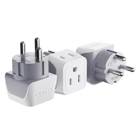 Denmark Travel Adapter - Type K - Ultra Compact (CT-20 ,3 PACK)
