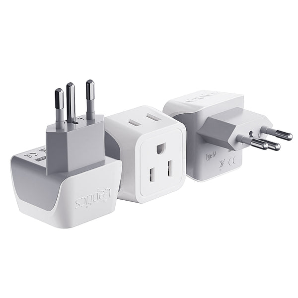 Brazil Travel Adapter - Type N - Ultra Compact (CT-11C, 3 Pack)