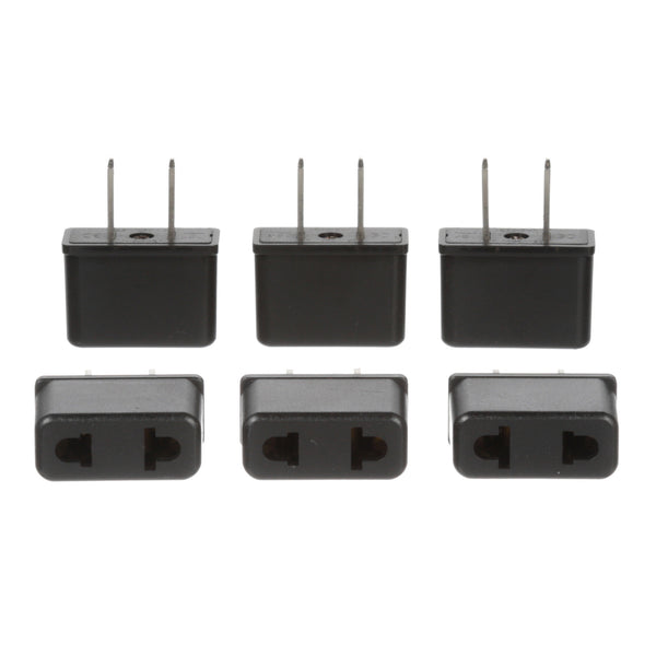 Ceptics UP-6US CE Certified High Quality Europe Asia to USA Plug Adapter - 6 Pack