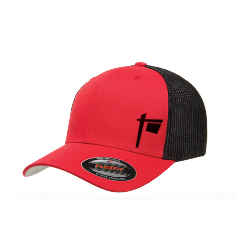Flexfit Curved Brim Trucker Hat (Red Black) – Red Sign Swag c30f9186145
