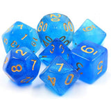 Mermaid's Crown - Dark/Light Blue Semi-Translucent Dice - 7 Polyhedral Set (Acrylic)