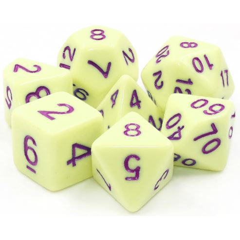 Eggshell Rose - Light Yellow Opaque Dice - 7 Polyhedral Set (Acrylic)
