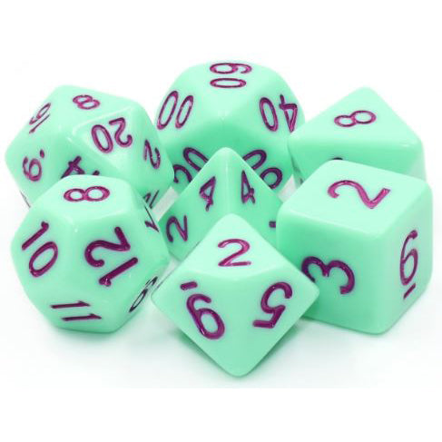 Mint Rose - Light Green Opaque Dice - 7 Polyhedral Set (Acrylic)