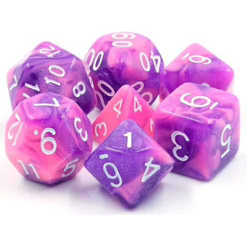 Purple Whirlwind - Pink and Purple Swirl Dice - 7 Polyhedral Set (Acrylic)