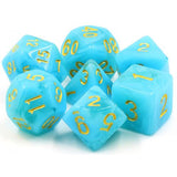 Atlantis in Ice Blue Semi-Translucent Swirl Dice - 7 Polyhedral Set (Acrylic)