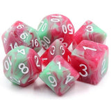 Strawberry Creme Red and Green Swirl Dice - 7 Polyhedral Set (Acrylic)