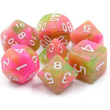 Apple Taffy Pink and Dark Yellow Swirl Dice - 7 Polyhedral Set (Acrylic)