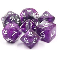 Dark Crystal Semi-Translucent Swirl Dice - 7 Polyhedral Set (Acrylic) (Silver/Gray & Purple)