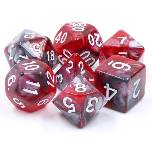 Dragon's Blood Semi-Translucent Swirl Dice - 7 Polyhedral Set (Acrylic) (Silver/Gray & Red)