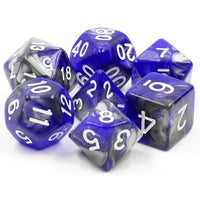 Cold Iron Semi-Translucent Swirl Dice - 7 Polyhedral Set (Acrylic) (Silver/Gray & Blue)