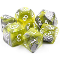 Iron Barite Semi-Translucent Swirl Dice - 7 Polyhedral Set (Acrylic) (Silver/Gray & Yellow)