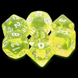 Sun Gems Yellow Translucent Dice - 7 Polyhedral Set (Acrylic)