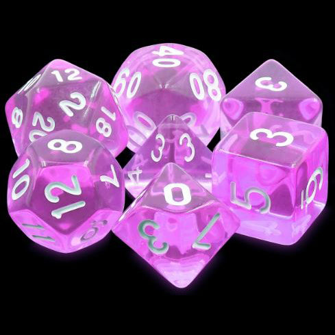 Tyrian Gems Translucent Dice - 7 Polyhedral Set (Acrylic) (Purple)