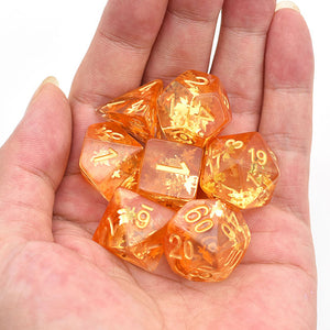 Leaf Fall - Orange Four Seasons Dice - 7 Polyhedral Set