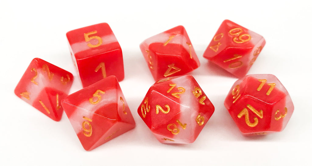 Red/White Stripe Dice - 7 Polyhedral Set (Polyresin)
