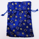 Blue Pressed Velvet Dice Bag with Gold Decoration