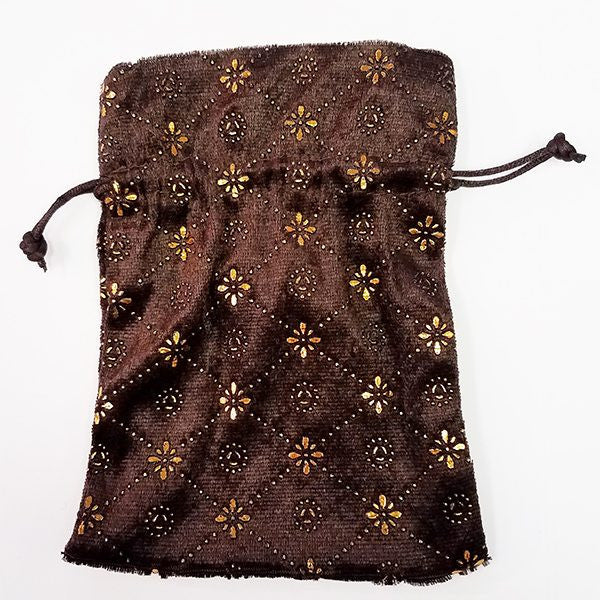 Brown Pressed Velvet Dice Bag with Gold Decoration