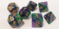 Purple/Green Swirl 2 Dice - 7 Polyhedral Set (Acrylic)