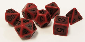 Red Antiqued Dice - 7 Polyhedral Set (Polyresin)