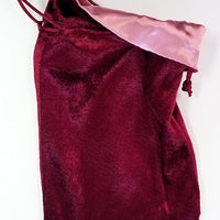 Burgundy Velvet Dice Bag with Rose Satin Lining