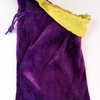 Purple Velvet Dice Bag with Yellow Satin Lining