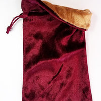 Burgundy Velvet Dice Bag with Gold Velvet Lining