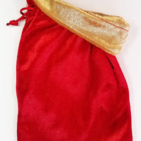 Red Velvet Dice Bag with Gold Velvet Lining