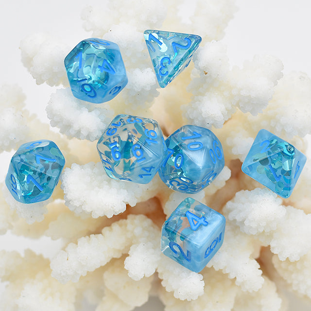 Rainy Day - Blue Four Seasons Dice - 7 Polyhedral Set