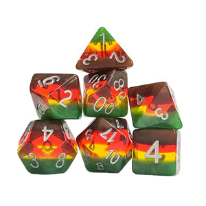 Autumn Striped Dice - 7 Polyhedral Set (Polyresin)