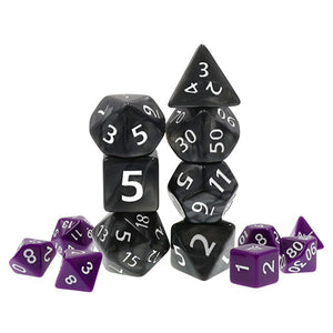 Black Pearl Dice with White Paint - Giant 7 Polyhedral Set (Acrylic)