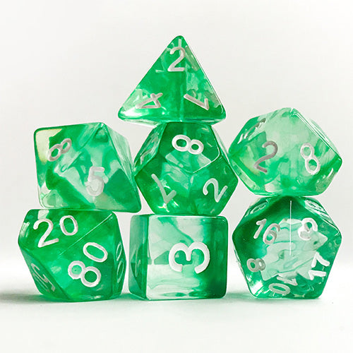 Green Space Dice - 7 Polyhedral Set (Polyresin)