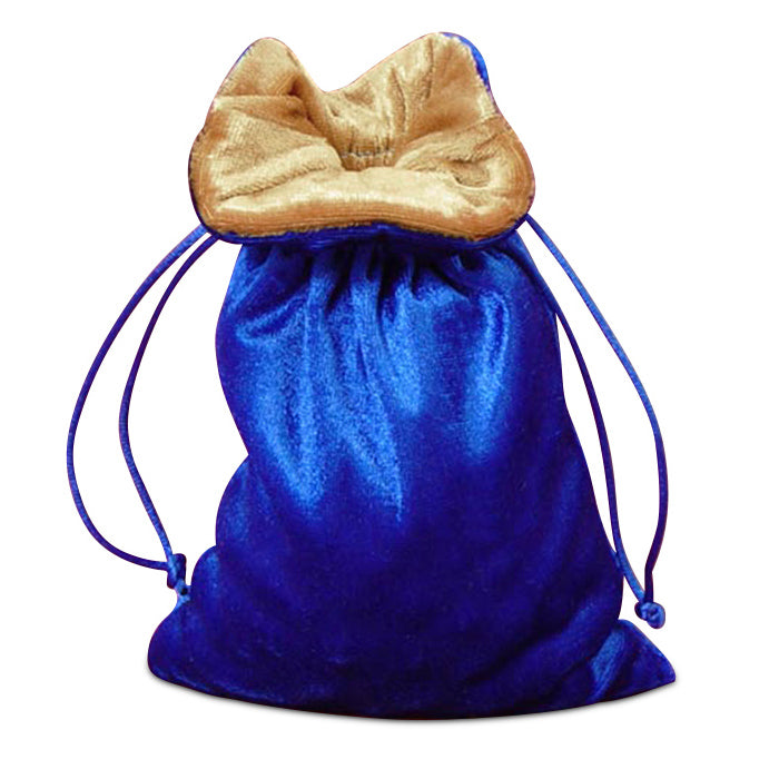Blue Velvet Dice Bag with Gold Velvet Lining
