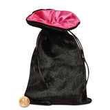 Black Velvet Dice Bag with Pink Satin Lining