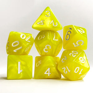 Bright Yellow Pearl Dice - 7 Polyhedral Set (Acrylic)