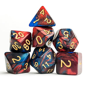 Midnight/Red Swirl 2 Dice - 7 Polyhedral Set (Acrylic)