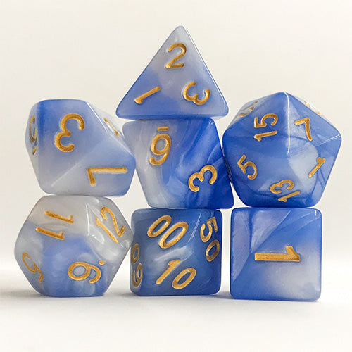 Cloud Swirl Dice - 7 Polyhedral Set (Acrylic)