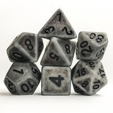 Gray Antiqued Dice - 7 Polyhedral Set (Polyresin)