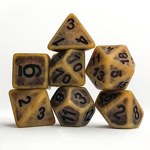 Gold Colored Antiqued Dice - 7 Polyhedral Set (Polyresin)