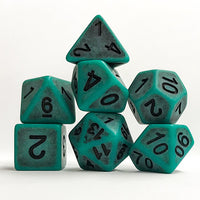Green Antiqued Dice - 7 Polyhedral Set (Polyresin)