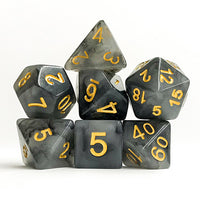 Black/Gray Marbleized Dice - 7 Polyhedral Set (Polyresin)