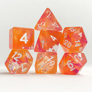 Orange/Purple Swirl Translucent Dice - 7 Polyhedral Set (Polyresin)