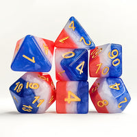 Old Glory Striped Dice - 7 Polyhedral Set (Polyresin)